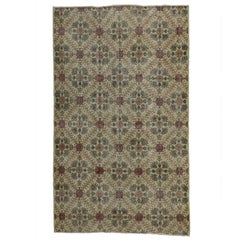 Distressed Turkish Sivas Rug with Shabby Chic English Country Cottage Style