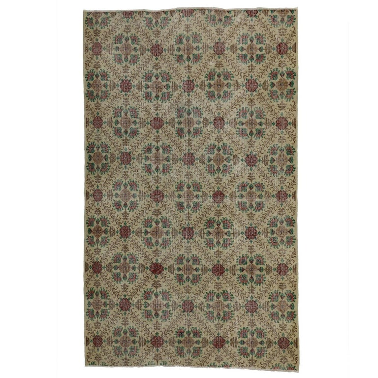 Distressed Turkish Sivas Rug with Shabby Chic English Country Cottage Style For Sale
