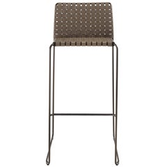 Italian Modern Bar Stool, Woven Leather, Italy