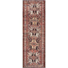 Multicolored Antique Persian Kazak Rug with Vertical Geometric-Tribal Medallions