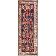 Tribal Midcentury Persian Hamedan Rug in Midnight Blue, Red, Green and Brown