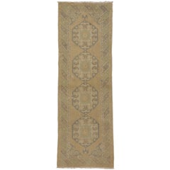 Vintage Oushak Rug Runner, Hallway Runner with Soft Colors