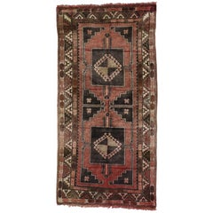 Vintage Turkish Oushak Rug Runner with Tribal Style, Hallway Runner