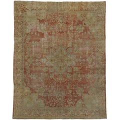 Distressed Antique Turkish Oushak Rug with Industrial Modern Urban Loft Style