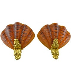 Amber Art Glass and Gilt Bronze Scallop Shell Sconces