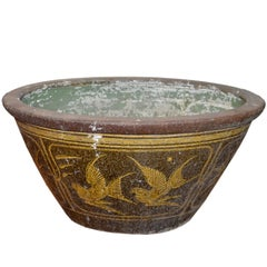 19th Century Southern Chinese Painted Ceramic Bathtub from Annan with Greek Key