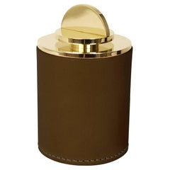 Contemporary Round Italian Leather & Swedish Brass Modern Minimalist Artisan Box