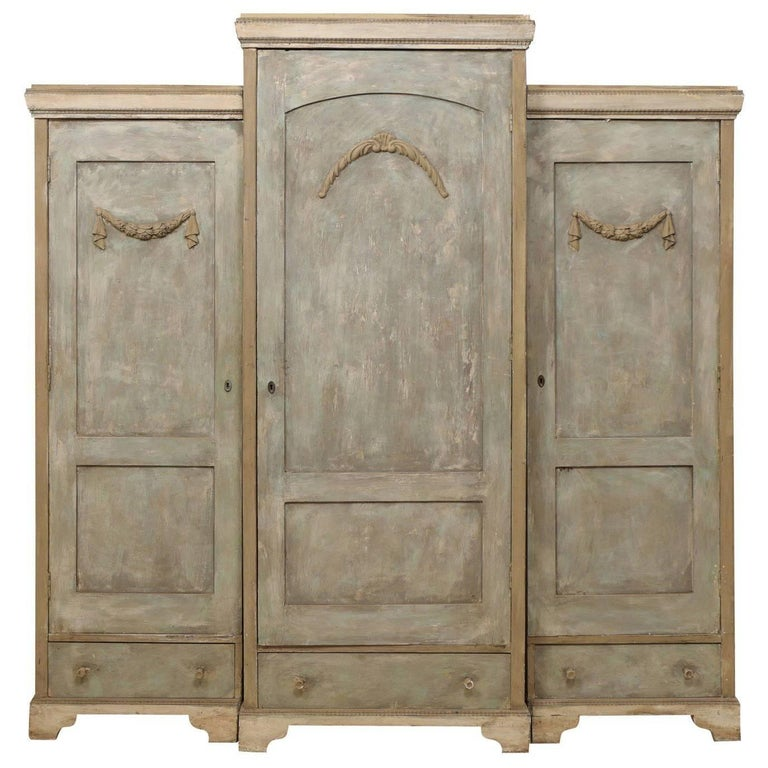 19th Century Swedish Breakfront Three-Door Painted Wood Armoire Cabinet