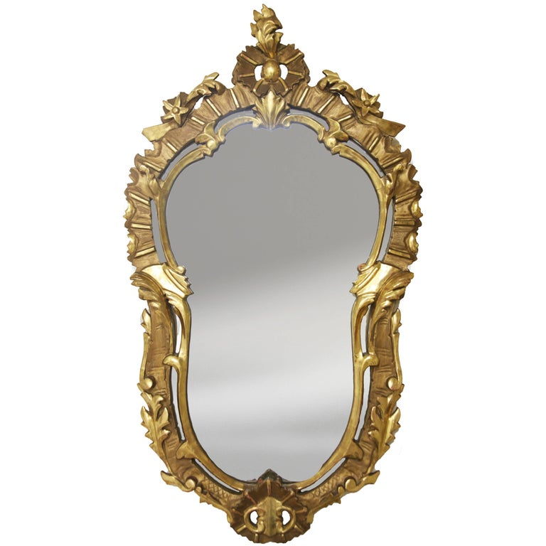 Antique Giltwood Mirror with Floral Design