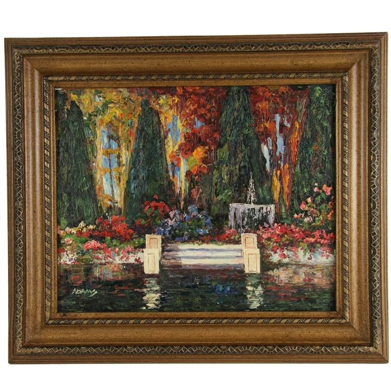 Fountain in a Garden Oil Painting