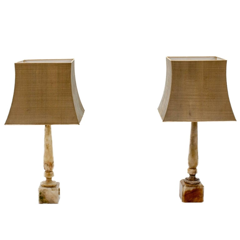 Two Marble Table Lamps
