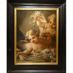 A  Large Painting Representing Two Angels, Venitian School Italy, 18th Century
