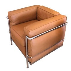 Le Corbusier LC2 Leather Lounge Chair with Chrome Frame