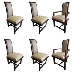 Set of 12 Frank Lloyd Wright Taliesin Collection Mahogany Dining Chairs