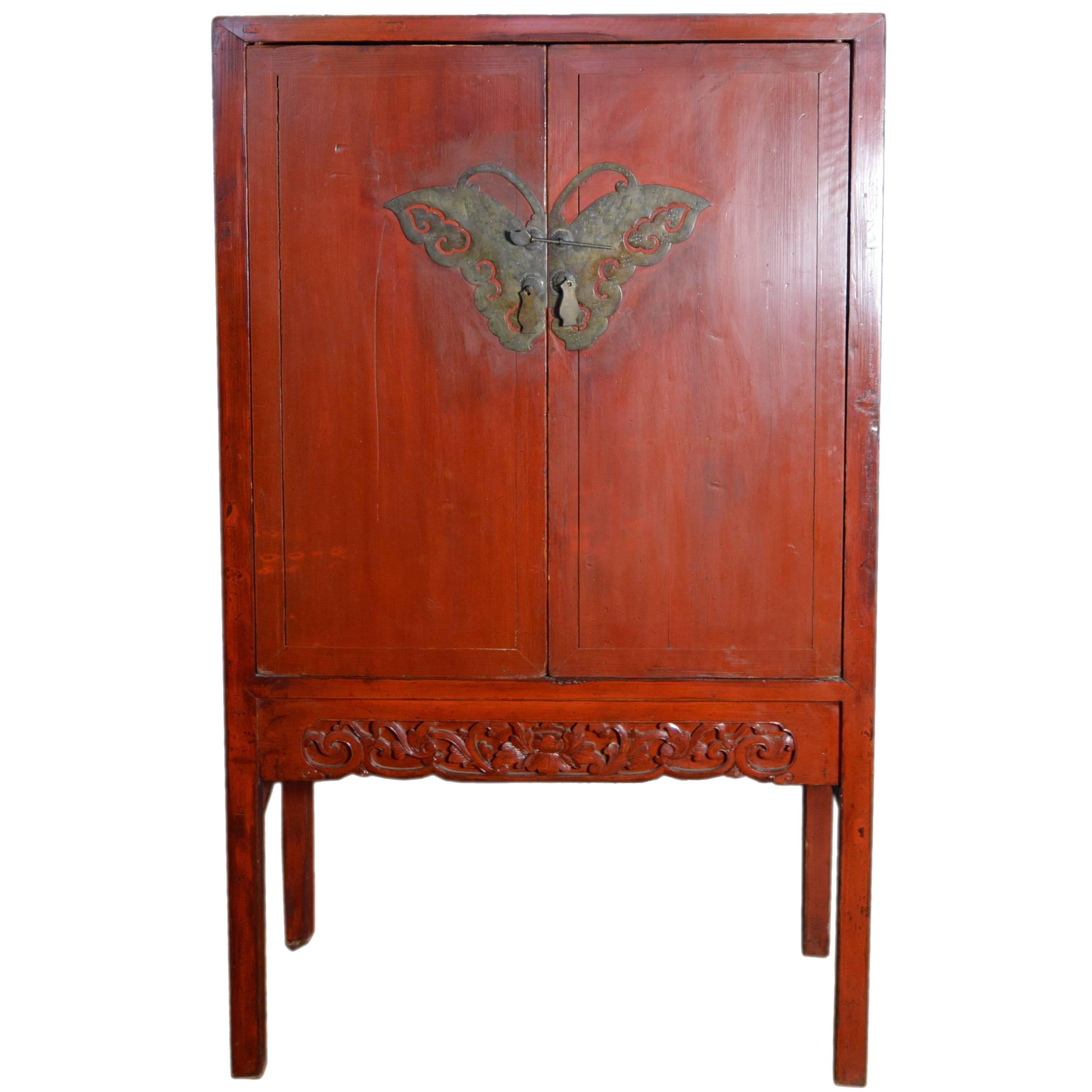 Genial Late 19th Century Chinese Red Lacquered Two Door Cabinet With Butterfly  Hardware