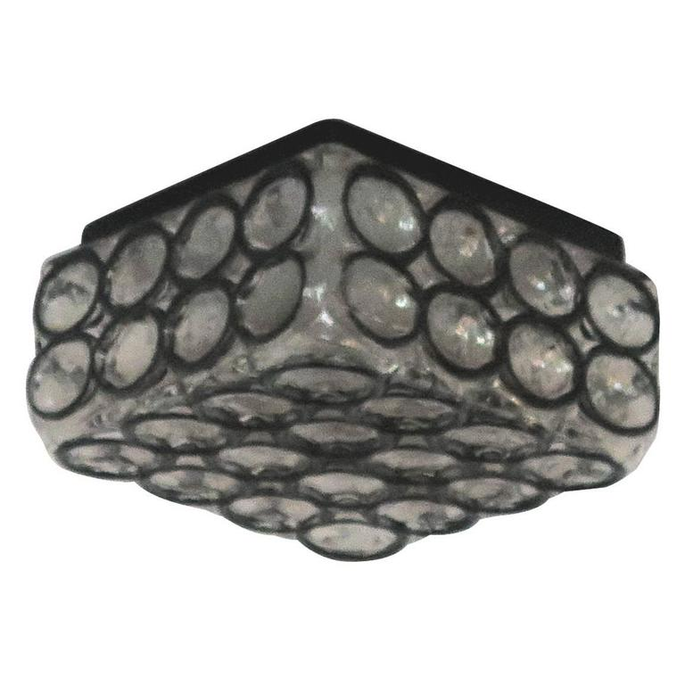 Limburg Iron and Glass Square Flush Mount For Sale