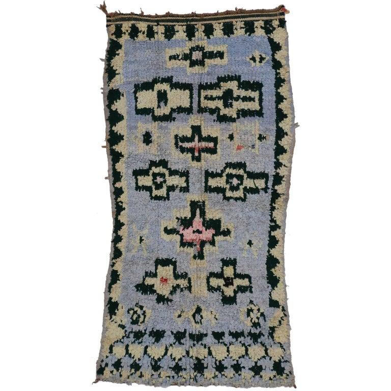 Vintage Berber Moroccan Boucherouite Rug