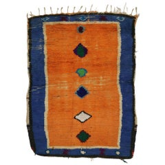 Blue and Orange Vintage Berber Moroccan Rug with Tribal Style
