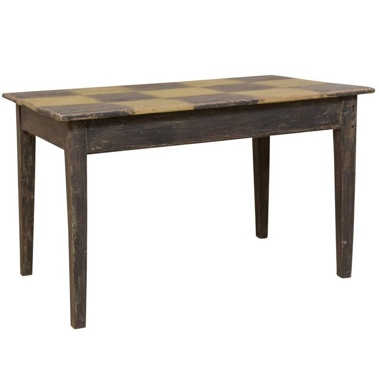 19th Century Swedish Painted Wood Dark Checker Top Table With Nice Tapered Legs For