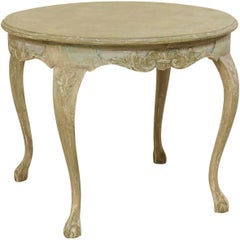 Swedish Mid-20th Century Rococo Style Carved and Painted Wood Round Centre Table