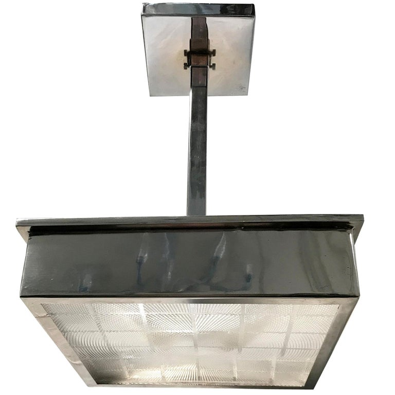 Set Of Chrome And Gl Square Pendant Light Fixtures For