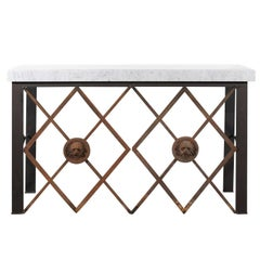 Iron and Marble Console Table Made with Metal Work from Provençal 1720s Balcony
