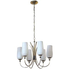 1960s Mid-Century Modern Chandelier with Six Arms in a Polished Brass Finish