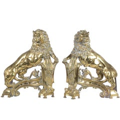 19th Century Brass Lion Fire Dogs