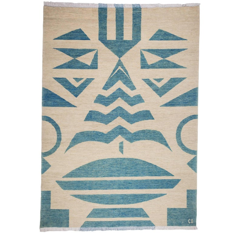 """""""Tribal (Blue)"""" One-of-a-Kind Hand-Knotted Wool Rug by Carpets CC"""