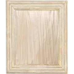 French Vintage Light Neutral Cream Color Painted Wood Mirror