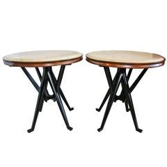 Rare Pair of Italian Modern Walnut, Ebonized and Marble Tables, Cassina