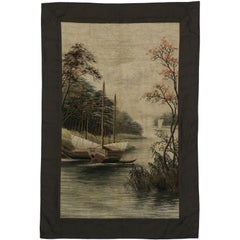 Antique Chinese Silk Embroidered Tapestry, Wall Hanging