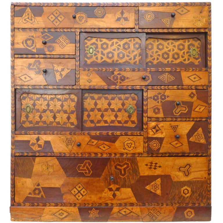 Handcrafted Japanese Marquetry Cabinet For Sale