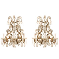 Pair of Elegant Italian Crystal and Gilded Metal Sconces, Mid-20th Century