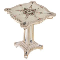 Paint-Decorated American Pedestal Table with Toleware Style Decoration