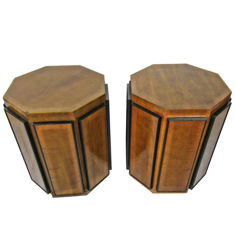Pair of Gilbert Rohde Octagonal Fruitwood and Ebonized Pedestal Tables