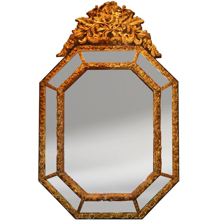 19th Century Repousse Louis XIV Style Mirror