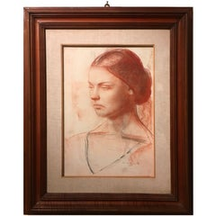 Mid-Century Modern Decorative Art Italian Portrait Drawing by Pietro Annigoni