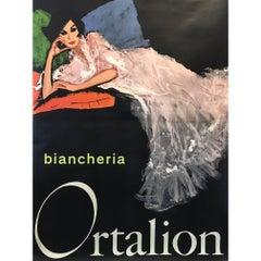 Original Vintage Poster Rene Gruau Biancheria Ortalion Woman Italian Fashion