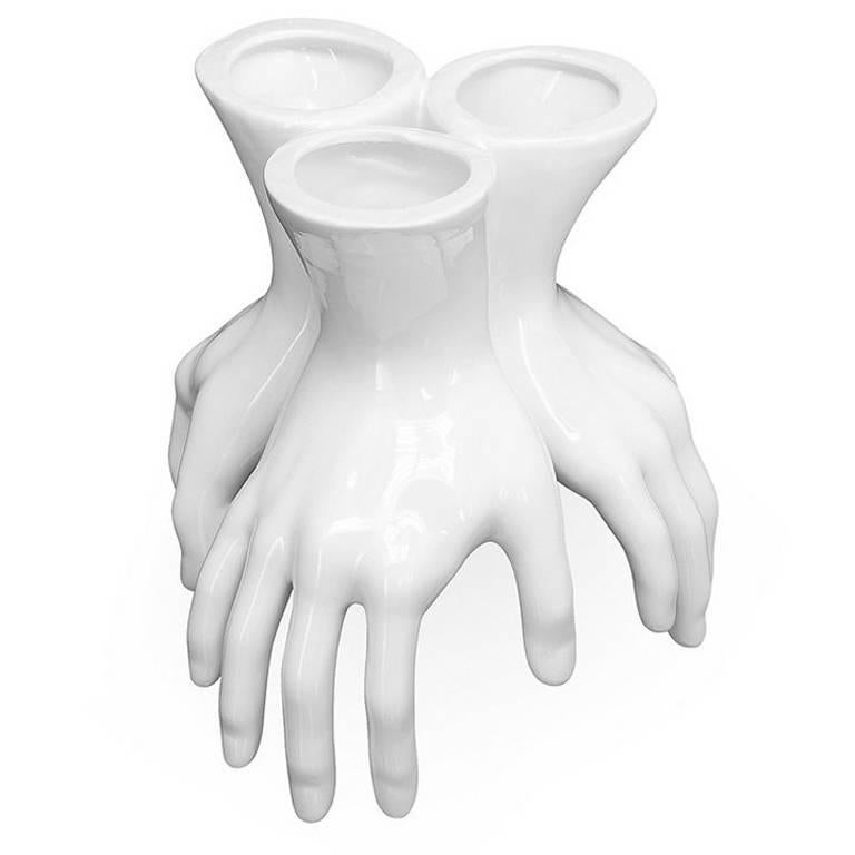 Three Hands Vase In White Ceramic For Sale At 1stdibs