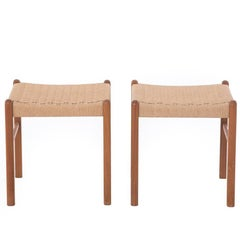 Danish Modern J.L. Møller Teak Stools with Woven Seats