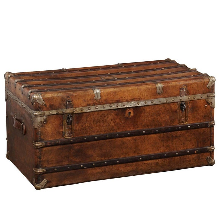 English Leather Trunk with Zinc Lined Interior and Brass Accents from the 1880s