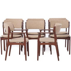 Danish Modern Teak Dining Chairs, Six Side and Two Armchairs
