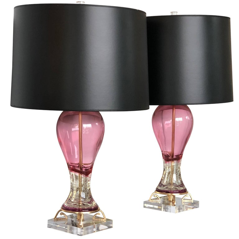 Pair of Mid-Century Modern Italian Murano Glass, Brass and Lucite Table Lamps