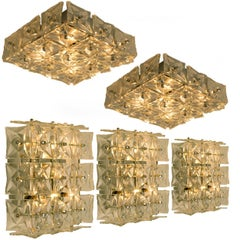 1 0f 5 Kinkeldey Wall or Flush Mount Lights Sconces, Nickel Crystal Glass, 1970