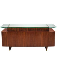 Freestanding Italian Desk in Rosewood and Brass