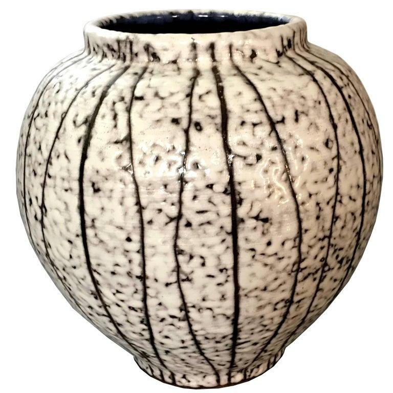 Late Century Scandinavian Modern Dappled Black and White Glazed Ceramic Vase
