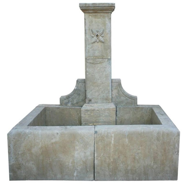 Classical Aged Stone Wall Fountain with Pool