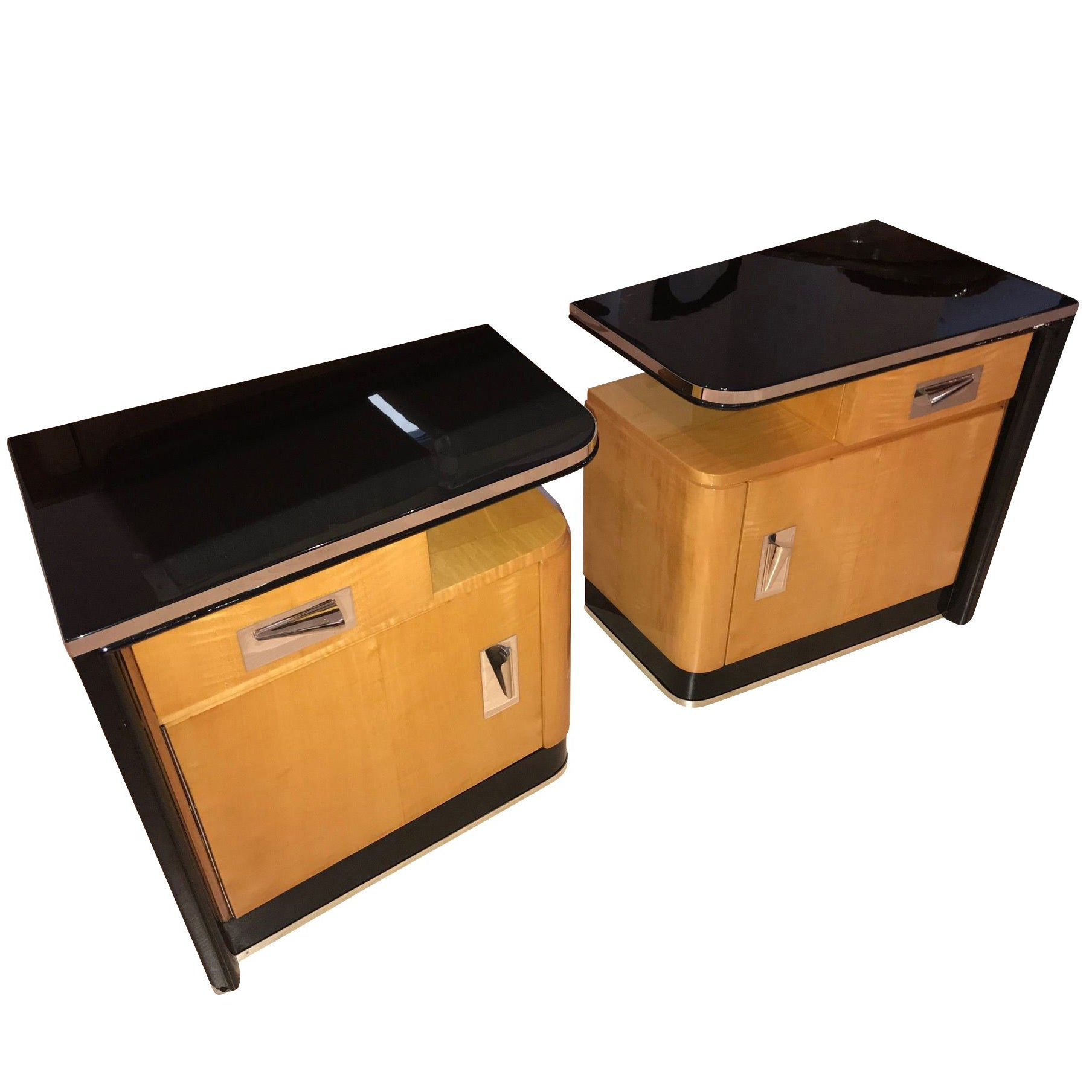 Pair of Art Deco Nightstands, Maple and Chrome, France, circa 1940