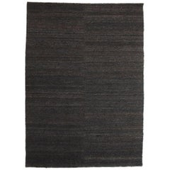 Black Earth Rug in Hand-Knotted Jute by Nani Marquina & Ariadna Miquel, Medium